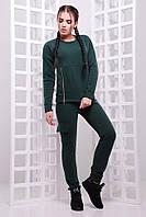 Теплый спортивный женский костюм с карманами на флисе темно-зеленый