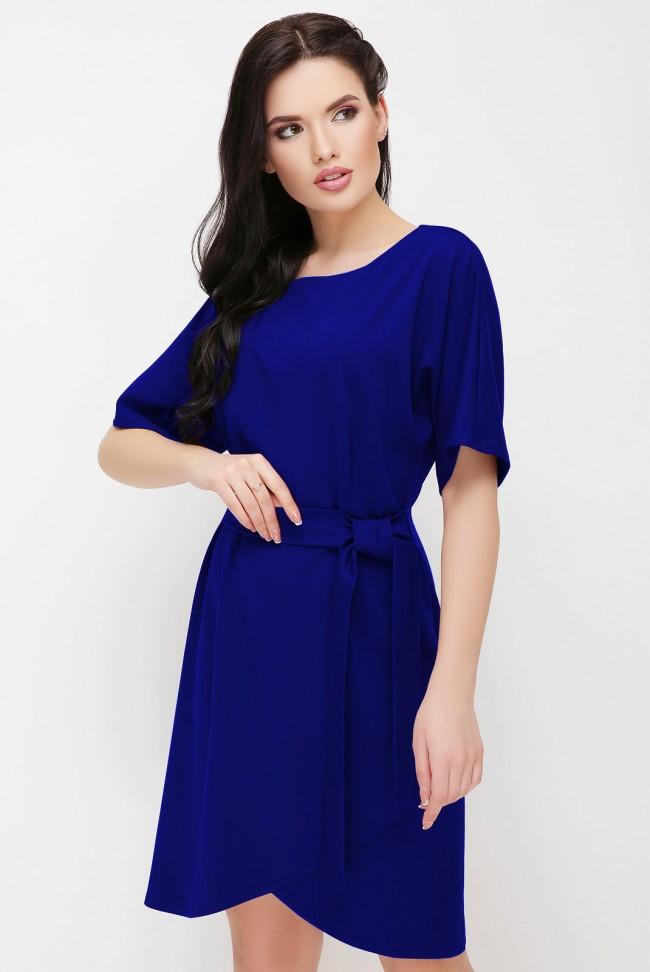 """Женское синее платье до колен приталенное с короткими рукавами """"Daniela"""" электрик"""
