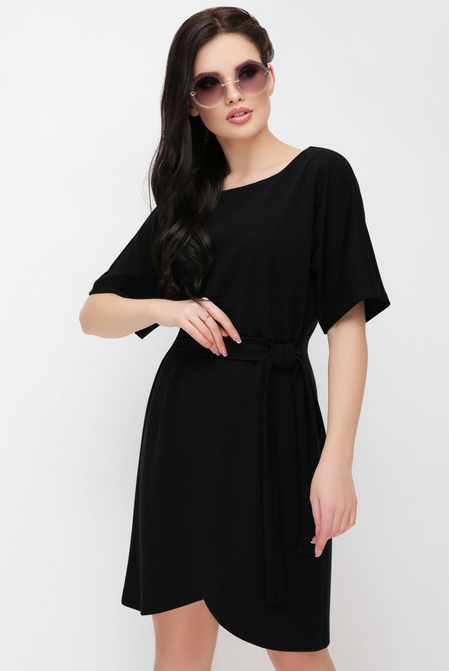 """Базовое женское однотонное платье по колено с поясом и широкими рукавами """"Daniela"""" черное"""