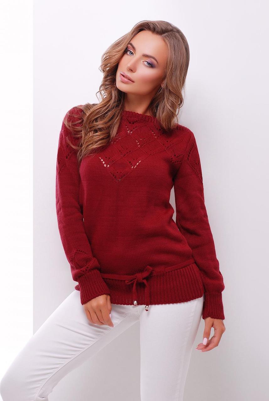 нарядный однотонный женский вязаный свитер с кулиской бордовый в
