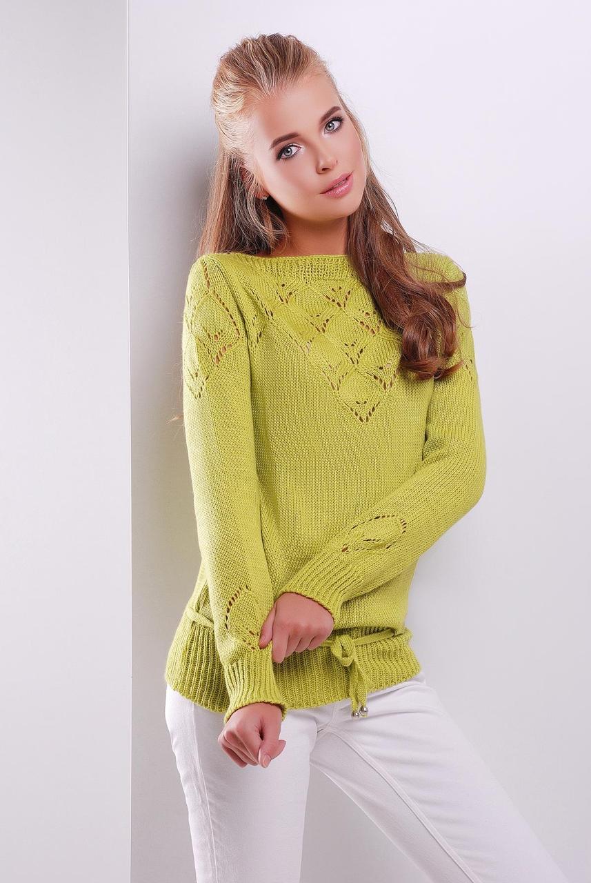 нарядный однотонный женский вязаный свитер с кулиской цвет фисташка