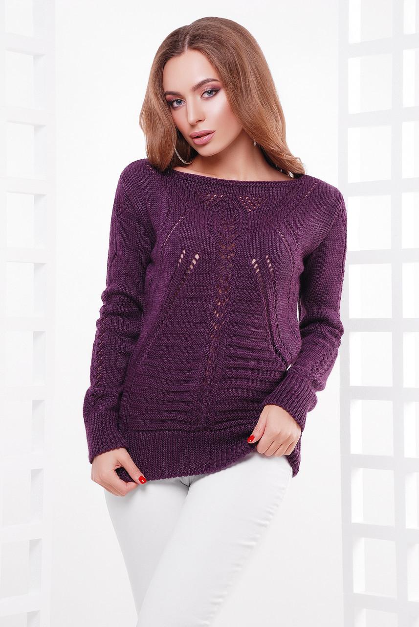 женский вязаный свитер с ажурным рисунком фиолетовый цена 424 грн