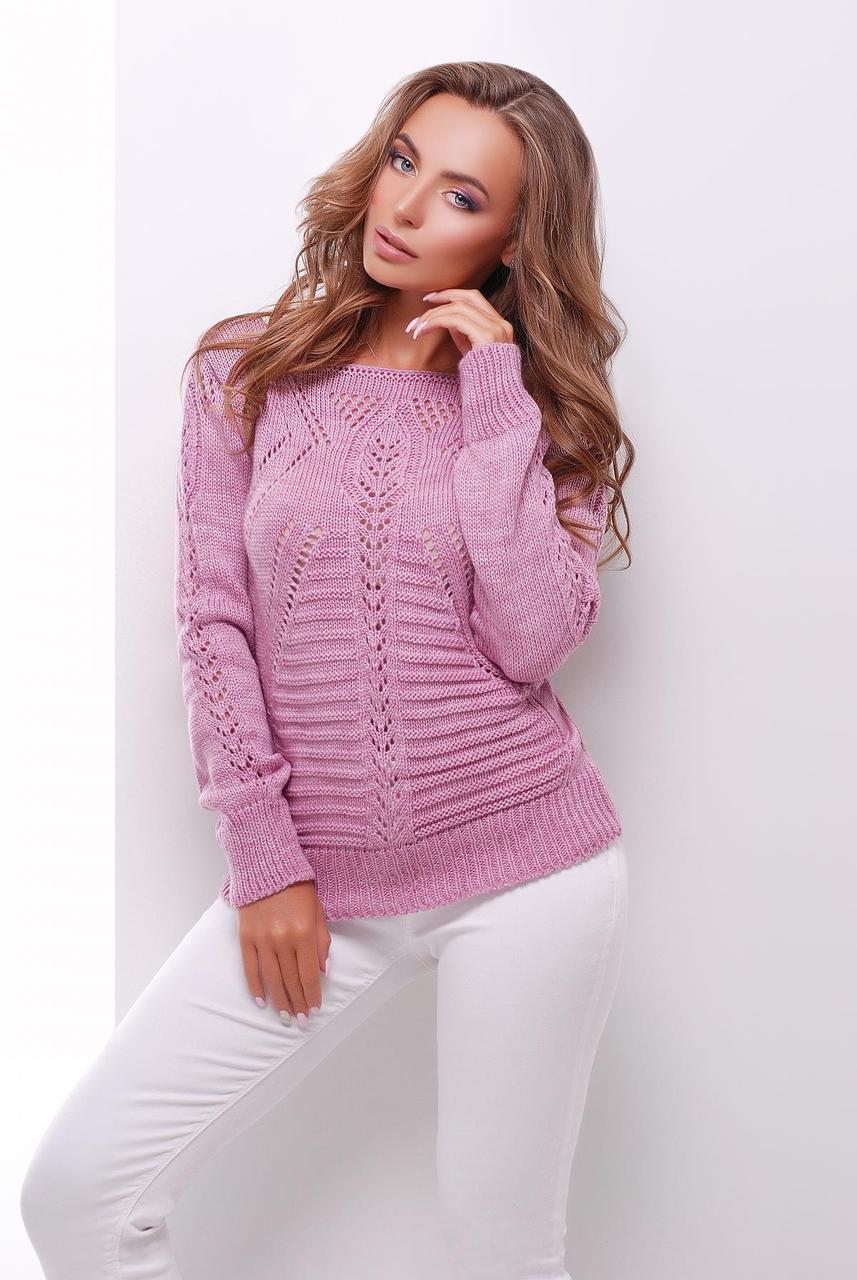Стильный женский вязаный свитер с ажурным узором сиреневый