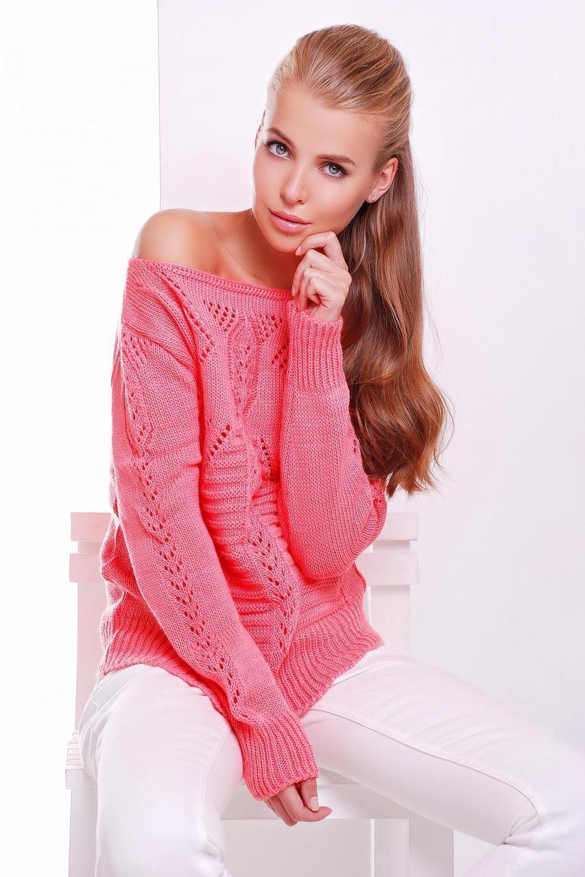 Женский вязаный свитерок с ажурным рисунком цвет коралл