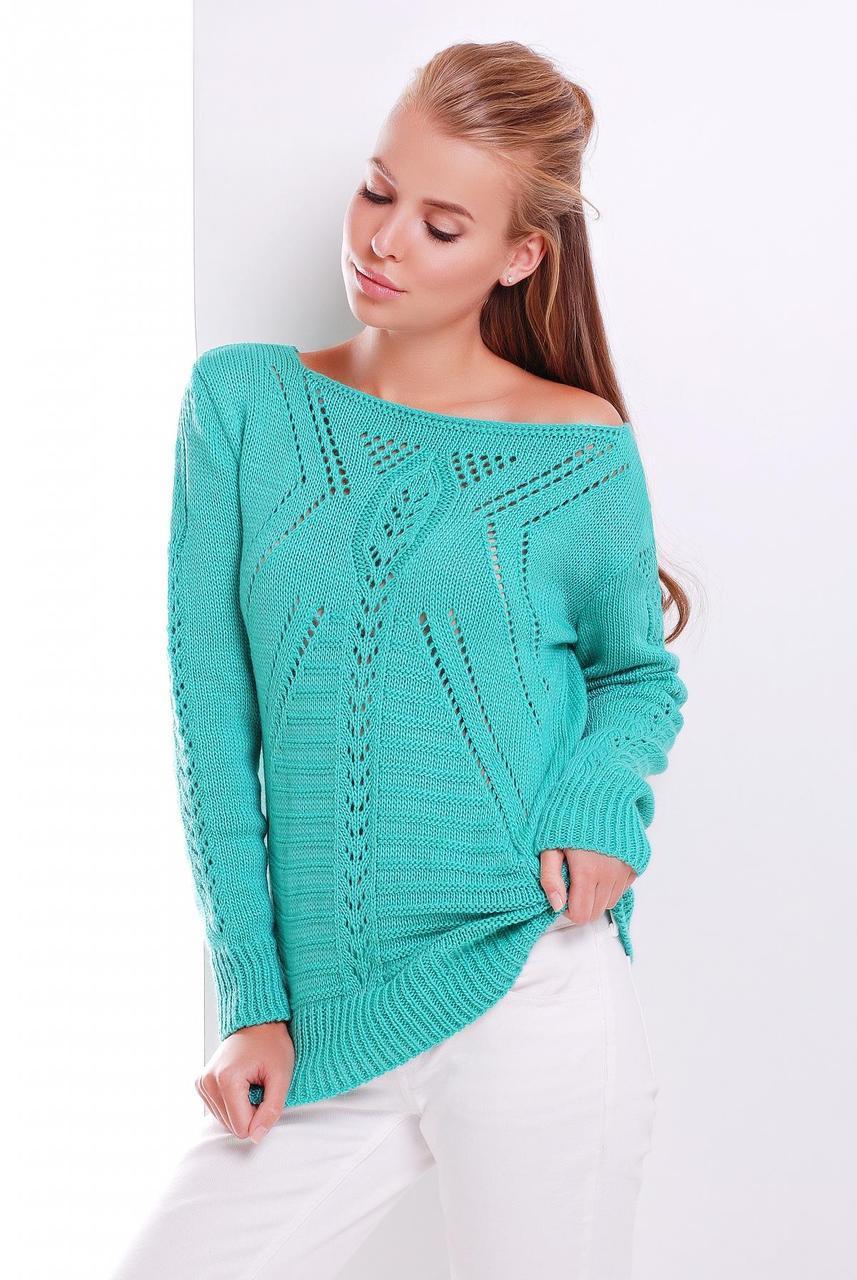 Женский однотонный вязаный свитер с ажурными элементами зеленый