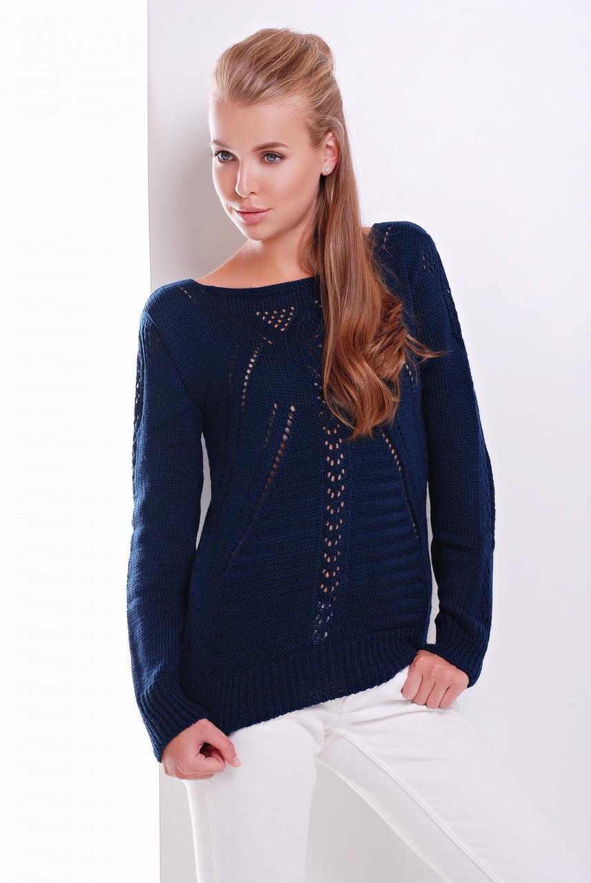 Женский однотонный вязаный свитер с ажурными элементами темно-синий