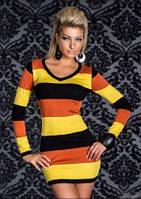 Короткое Платье в черно-оранжево-желтую полоску K3501-2