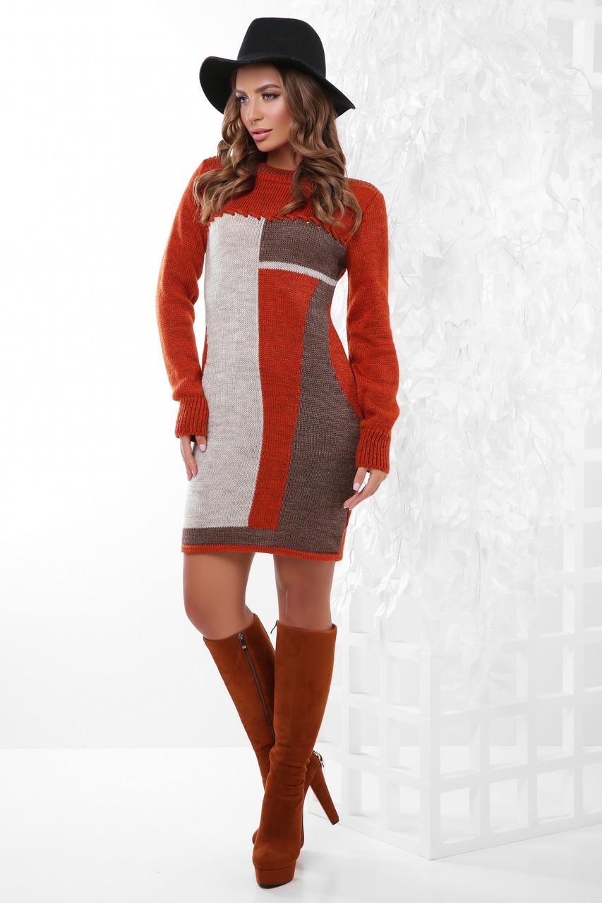 Теплое вязаное женское платье до колен с рисунком цвет терракот-капучино-коричневый