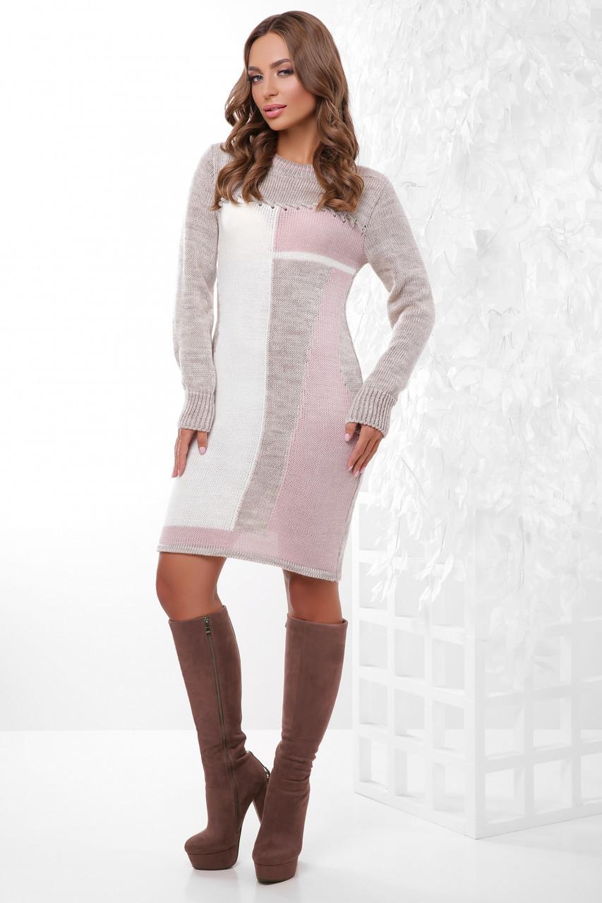 Стильное теплое вязаное платье средней длины цвет капучино-молоко-пудра