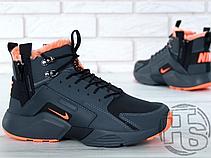 812634700 Мужские кроссовки Nike Air Huarache x ACRONYM City Winter Black/Orange (с  мехом)