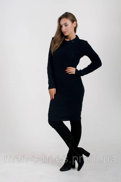 Женское  утепленное облегающее однотонное темно-синее  платье на каждый день.