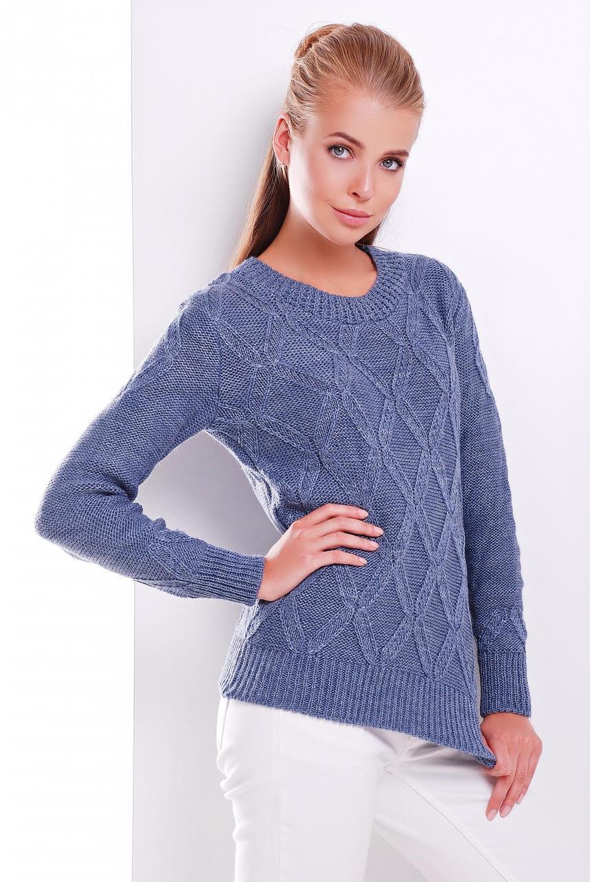 Теплый женский вязаный свитер с открытым горлом и узорами цвет светлый джинс