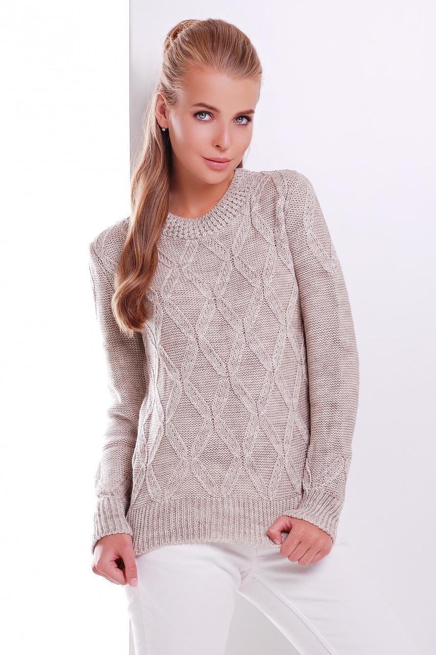 Теплый женский вязаный свитер с открытым горлом и узорами цвет капучино