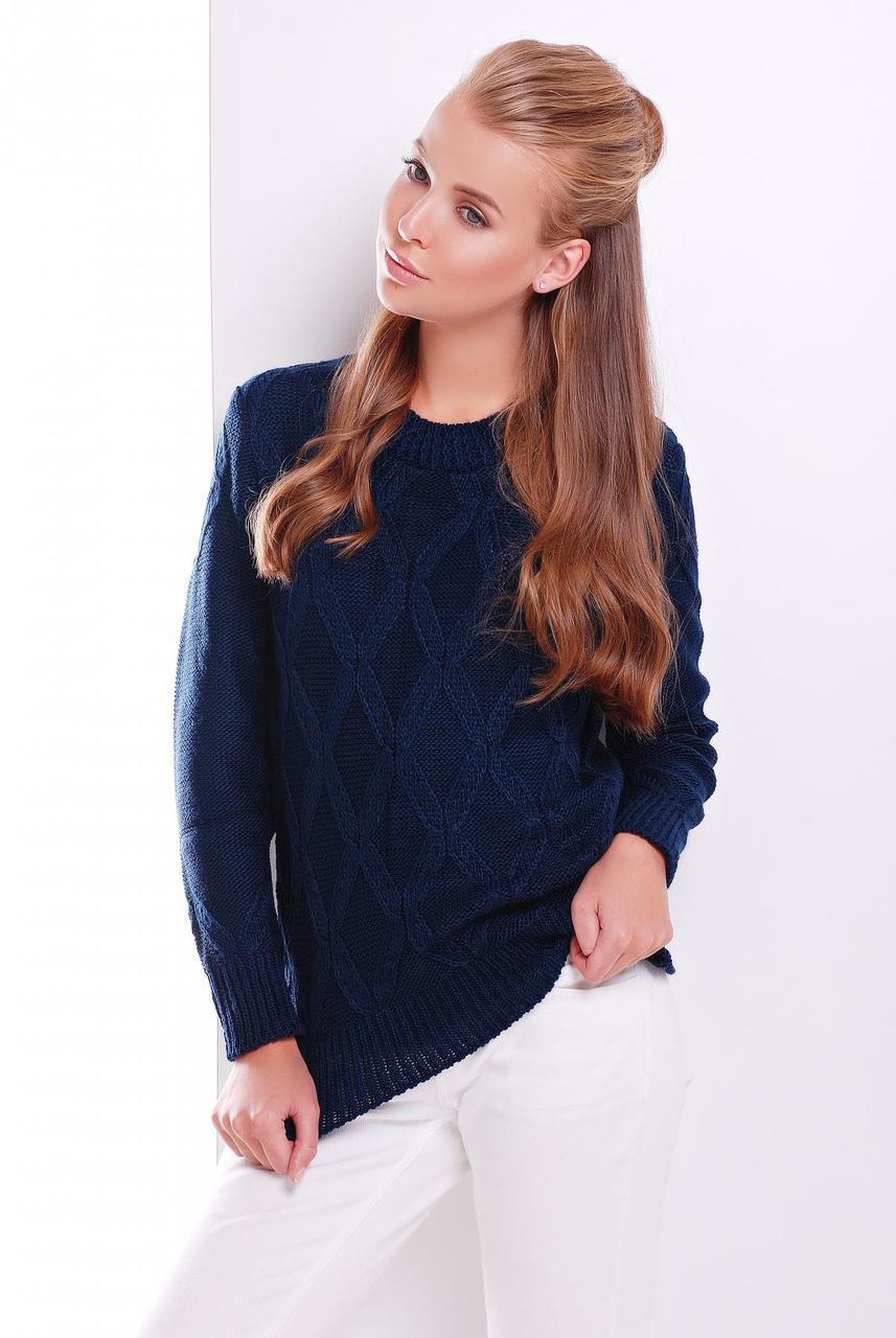 Женский теплый свитер ажурная вязка с круглой горловиной темно-синий