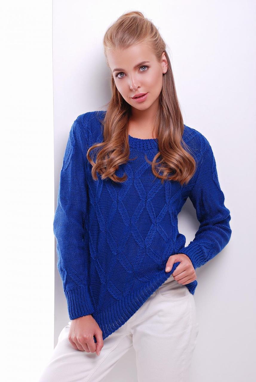 Женский теплый свитер ажурная вязка с круглой горловиной цвет электрик