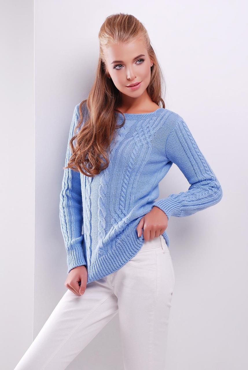 Модный женский теплый вязаный свитер в мелкие косы однотонный голубой