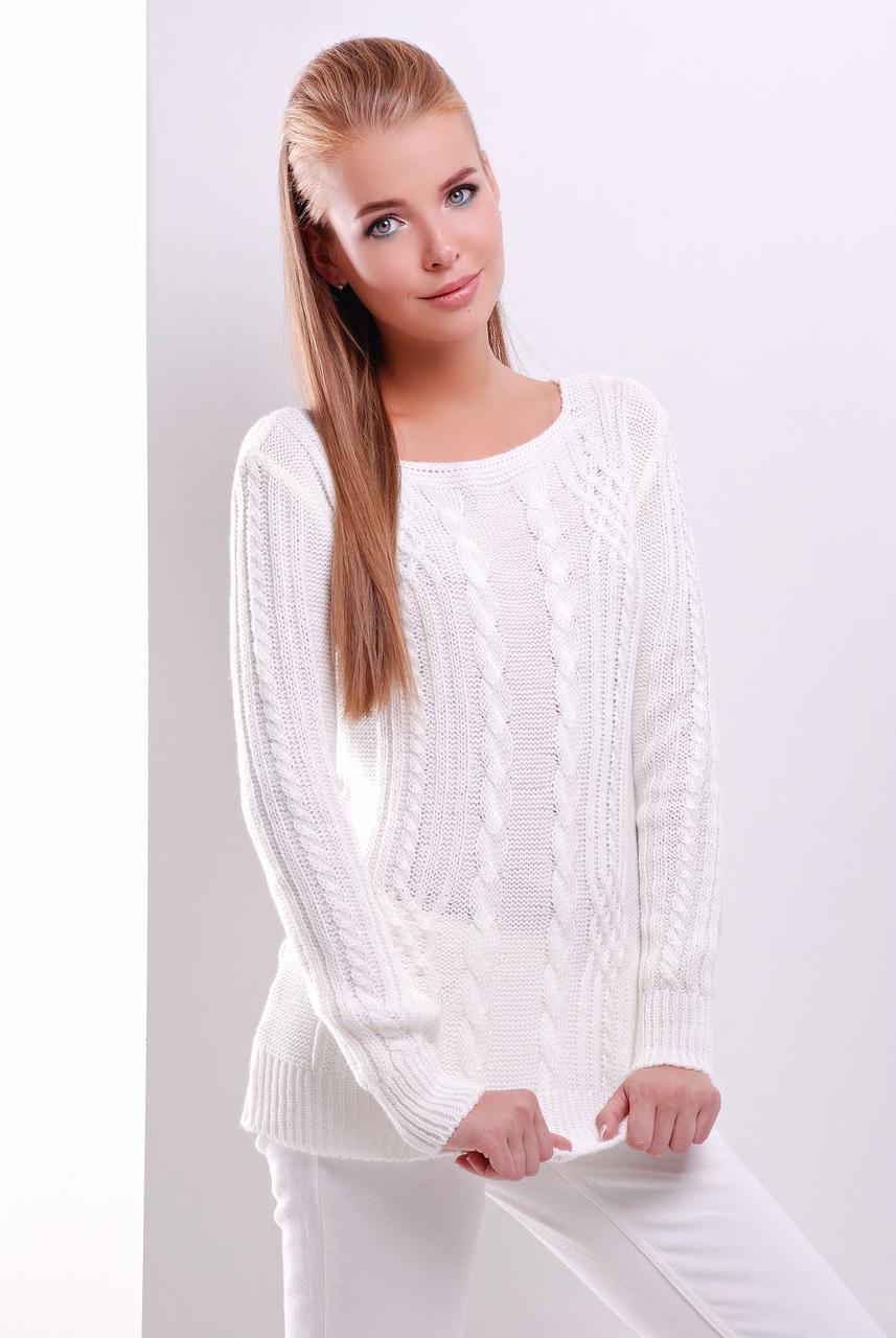 Модный женский теплый вязаный свитер в мелкие косы однотонный молочного цвета