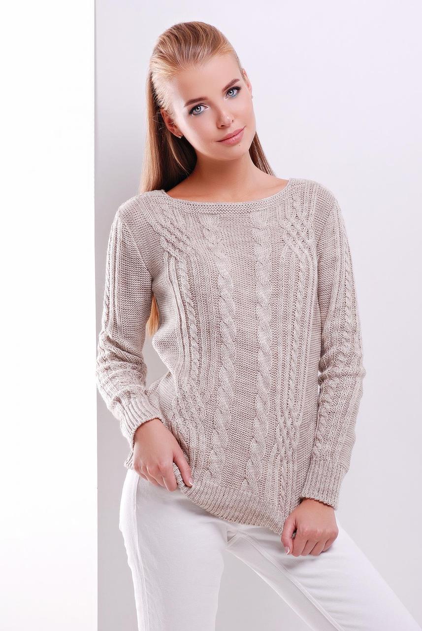 Нарядный женский вязаный свитер с ажурным узором в косичку цвет капучино