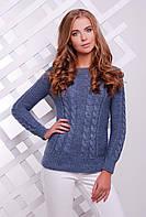 Красивый женский вязаный свитер с открытым горлом узор в косичку цвет светлый джинс