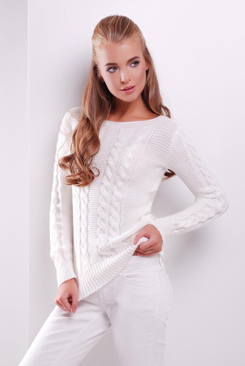 Женский вязаный свитер с горловиной-лодочкой узор косичка, цвет молоко