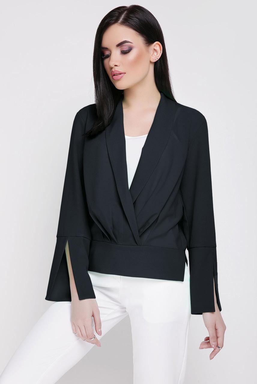 """Оригинальная женская нарядная блузка-двойка с белым топом """"Dinara"""" черная"""