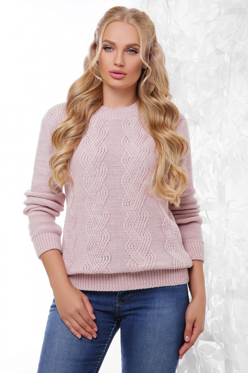 Красивый женский вязаный свитер с узорами большого размера цвет пудра