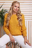 Теплый женский нарядный вязаный свитер с узорами большого размера цвет горчица