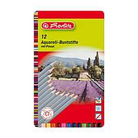 Цветные акварельные карандаши Herlitz Aquarell 12 шт, фото 1