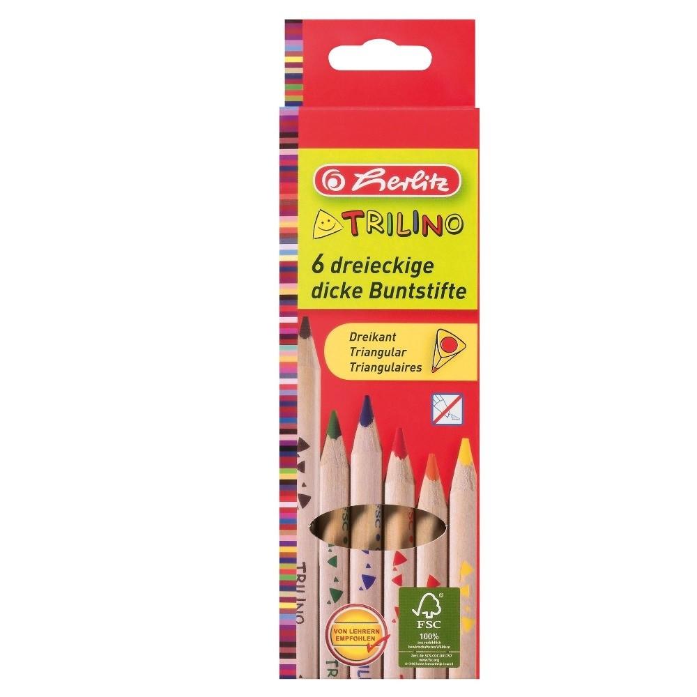 Карандаши трехгранные Herlitz Jumbo Trilino 6 цветов