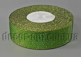 Лента парча+золото зеленая 2,5 см 25ярд