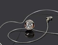 Кулон на леске Инталия из серебра и золота с куб.цирконами 466