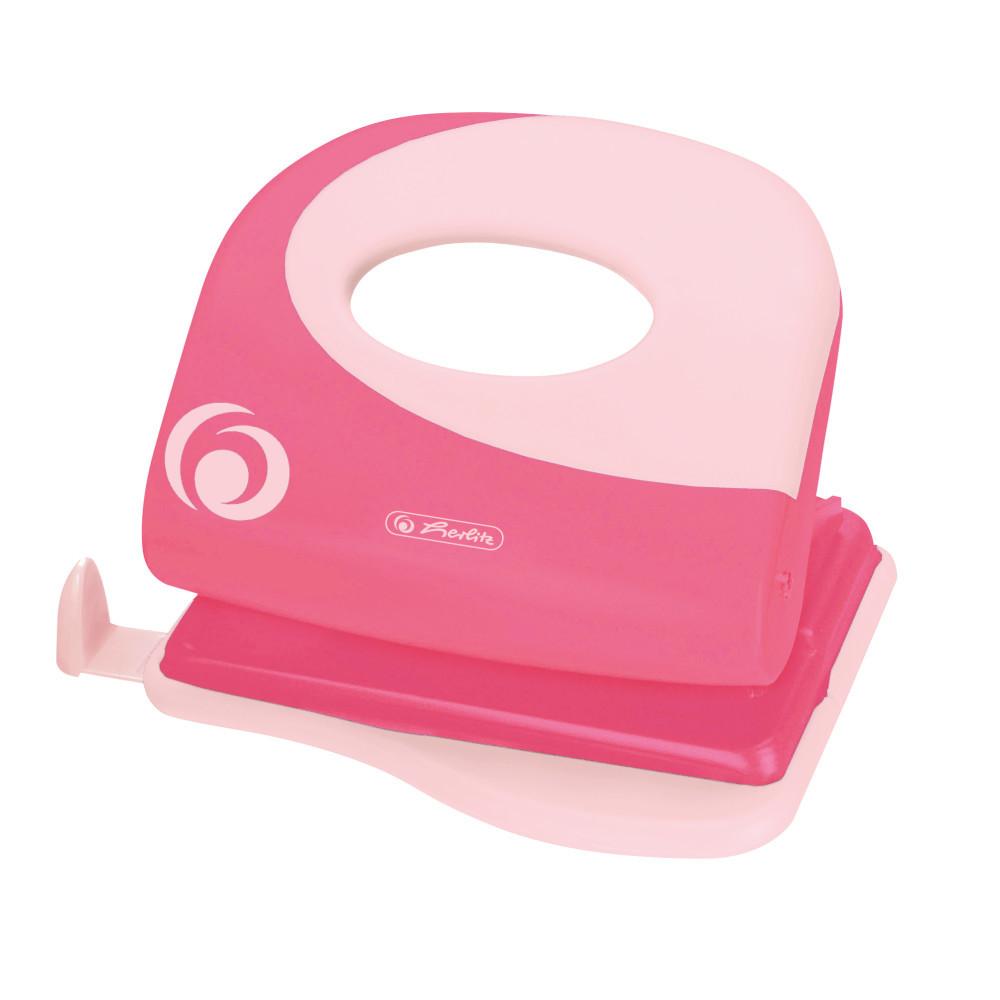 Дырокол Herlitz 25л пластик Colour Blocking Indonesia Pink розовый (50015818)