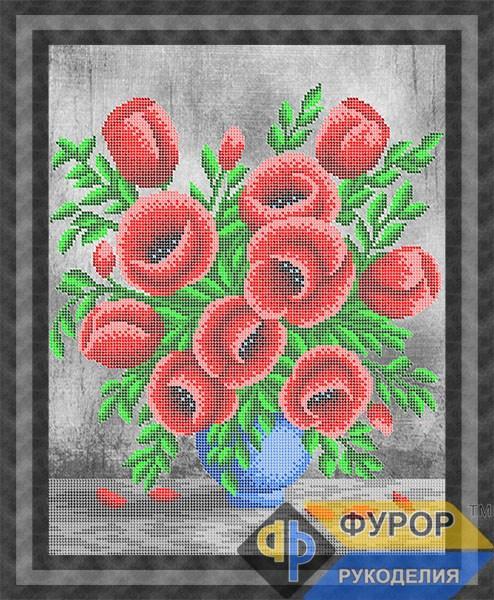 Схема для вишивки бісером картини Букет маків у вазі (НБч3-002-2)