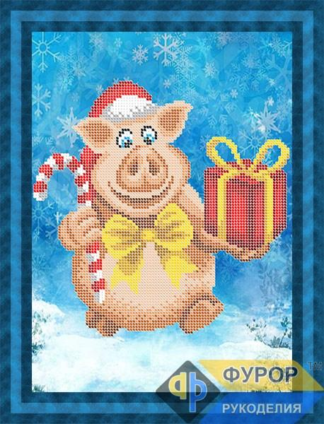 Схема для вишивки бісером картини Новорічна свинка з подарунком (ЖБч4-094)