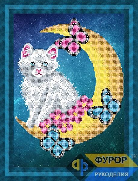 Схема для вышивки бисером картины Кот на луне (ЖБч4-096)