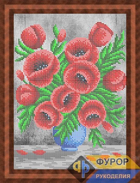 Схема для вишивки бісером картини Букет маків у вазі (НБч4-002-2)