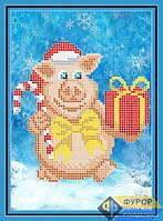 Схема для вышивки бисером - Новогодняя свинка с подарком, Арт. ДБч5-149