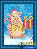 Схема для вышивки бисером - Новогодняя свинка с подарком, Арт. ЖБч4-094