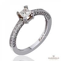 """Золотое кольцо с бриллиантом """"Дейзи"""", белое золото, КД7494/1ПР Eurogold"""
