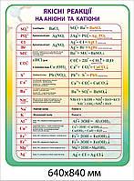 Стенд Качественные реакции на анионы и катионы (желто-зеленый фон)