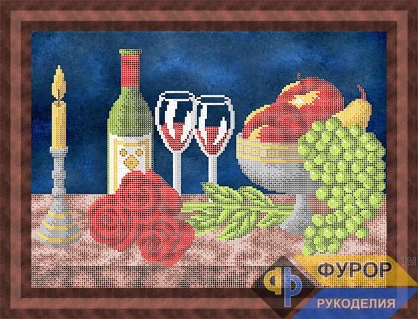 Схема для вышивки бисером картины Натюрморт вино, фрукты, розы (НБч3-149)