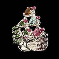 """Кольцо с натуральным Турмалином, Гранатами родолитами, Рубинами и Хромдиопсидом """"Павлин"""", фото 1"""