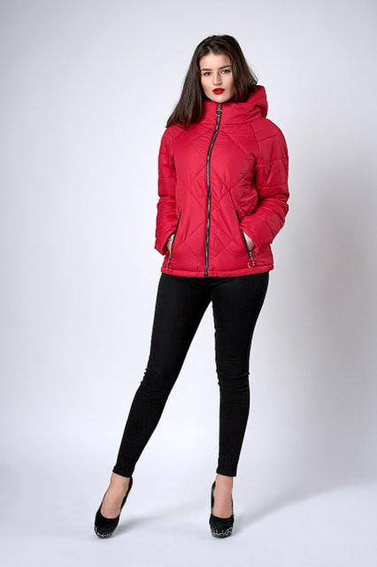 Модная молодежная демисезонная женская куртка красная (125), фото 1