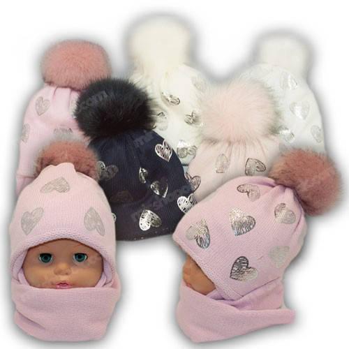 Детский комплект - шапка и шарф для девочки, р. 48-50