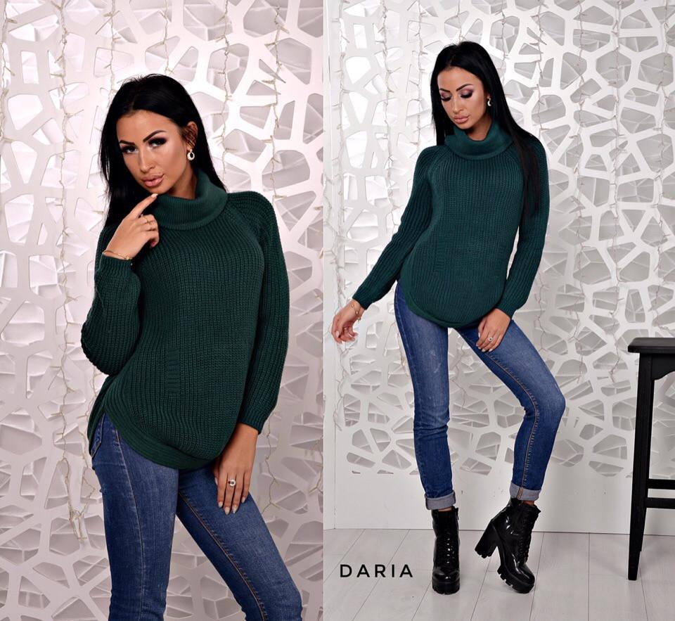 Женский свитер цвета бутылка  Daria