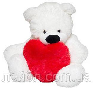 Білий плюшевий ведмедик 110 см з серцем 40см