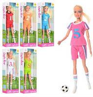 Кукла DEFA 8367 Футболистка 30см, шарнир, мяч