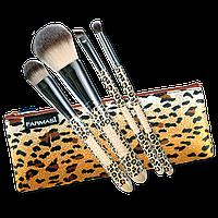 """Набор кисточек для макияжа, в косметичке Farmasi """"Леопард"""