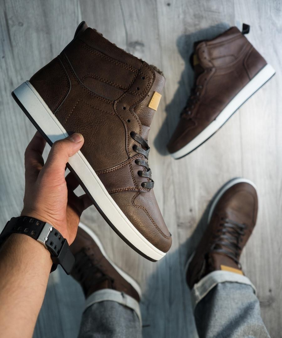 Мужские кожаные зимние кроссовки, полностью коричневые, коричневые кроссовки на меху,полностью прошиты