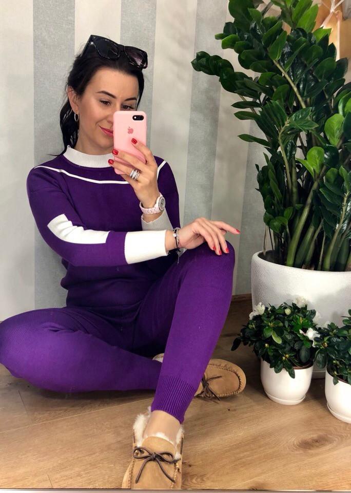 Теплый костюм фиолетового цвета